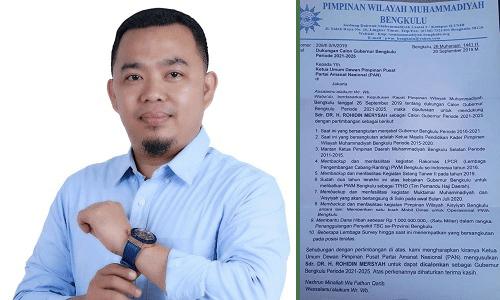 Kiri: Dempo Xler. Kanan: Surat dukungan PWM Bengkulu ke DPP PAN, terkait dukungan Pilgub Bengkulu 2020
