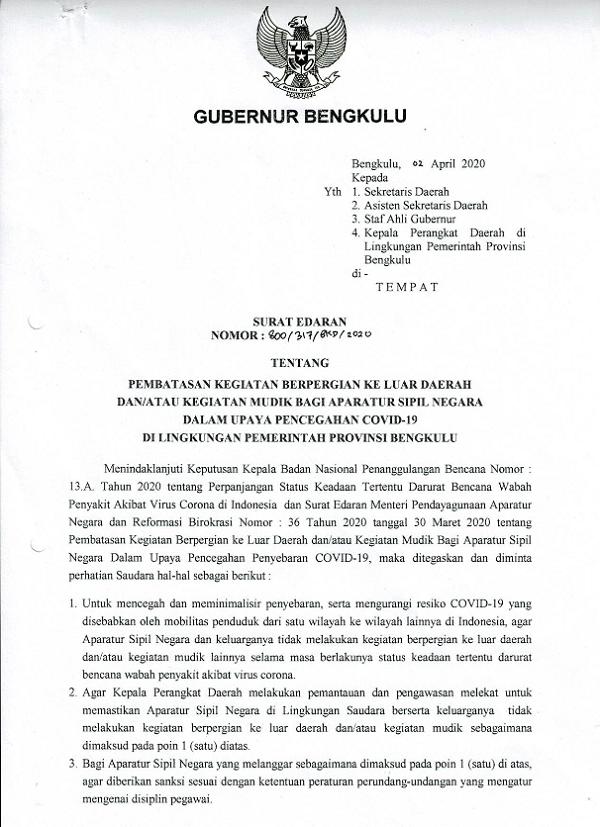 Gubernur Bengkulu Terbitkan Surat Edaran 'Larangan' Mudik