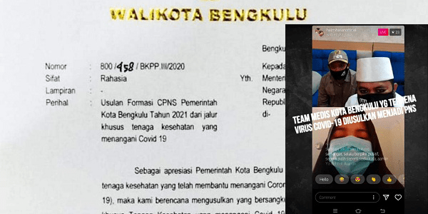 Surat Walikota Bengkulu ke MenPAN-RB tentang Usulan Formasi CPNS Pemkot Bengkulu tahun 2021 dari Jalur Khusus Tenaga Kesehatan yang Menangani Covid-19