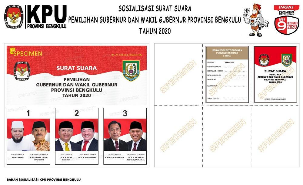 KPU Provinsi Bengkulu Surat Suara Pilgub Bengkulu 2020